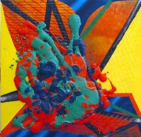 S/T. Acrílico, óleo y poliuretano con pigmento sobre tabla, 150x150. 2000.