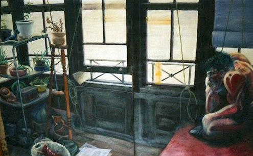 Autorretrato en el estudio de Cuchillería. Óleo sobre lienzo, 100x180. 1994. Colección Isaias Cuevas.