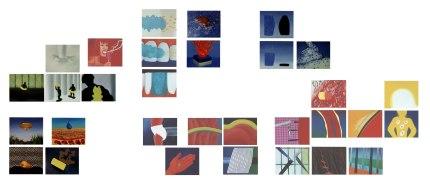 Conjunto, acrílico y óleo sobre lienzo, 35x50 cada unidad. 2002.