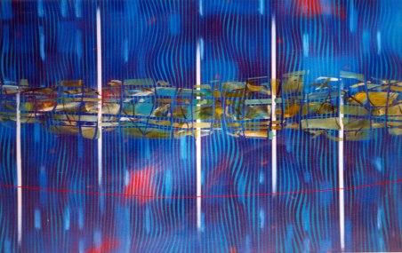 Intento de equilibrio temporal VI. Óleo sobre lienzo, 120x200. 1997.