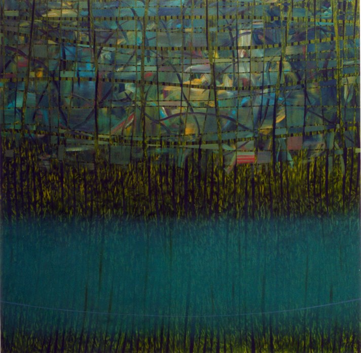 Intento de equilibrio temporal VII. Óleo sobre lienzo, 200x200. 1997.