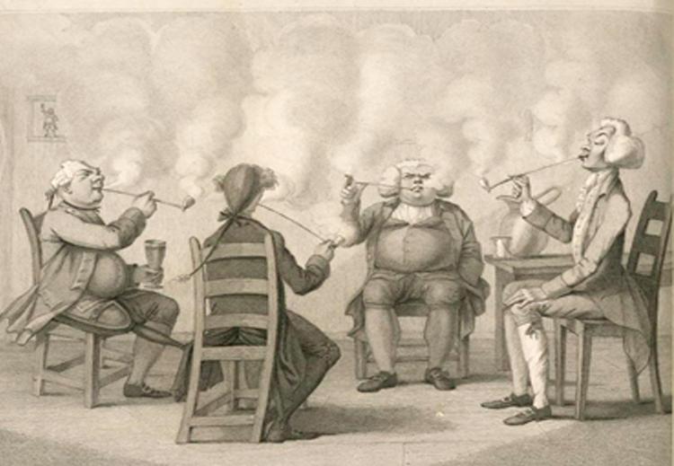 رسم يصوّر جلسة خاصة لمدخنين أوروبيين في العام 1859