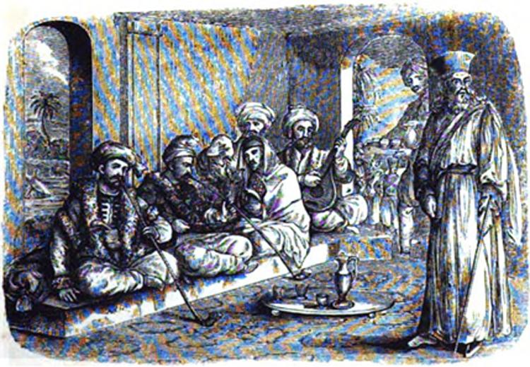 مدخنو الجبق في أحد مقاهي اسطنبول في رسم يعود للعام 1838