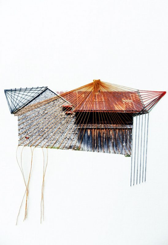 Dripping, lonely house, 2013, embroidery on paper