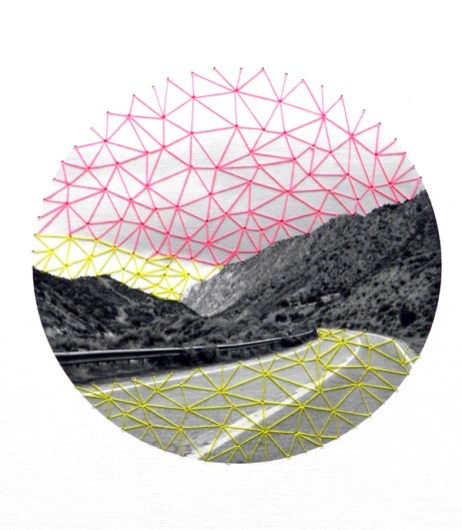 Rosy sky, 2013, embroidery on paper