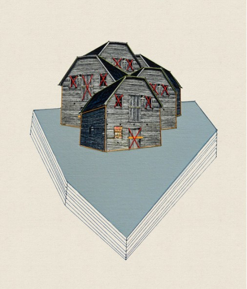 Sold. The village, 2013, embroidery on paper
