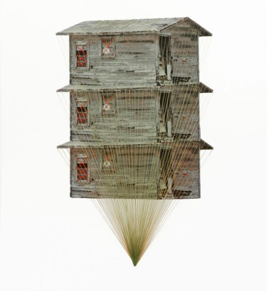 Tower, lonely house, 2013, embroidery on paper