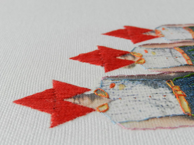 Sold. Looking Forward, 2011, threads on canvas