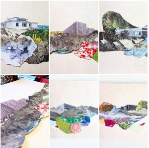 contemporary collage artists- Hagar Vardimon landscape collage Roots