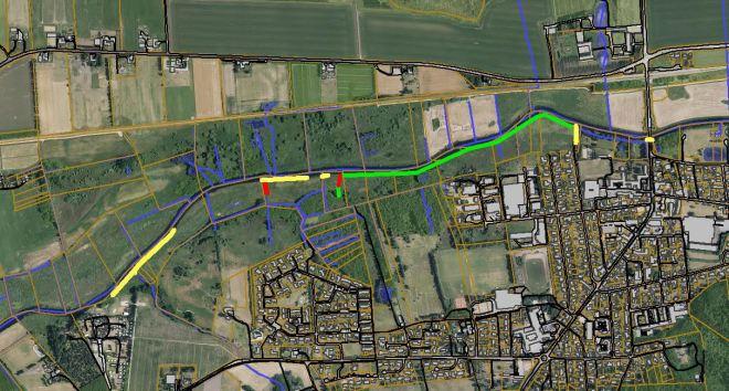 Trækstien ved Ulstrup: Grøn: Fase 1, Gul: Fase 2, Rød: Fase 3