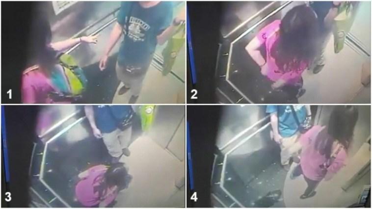 Kalo mau pipis di dalam lift pastiin gak ada kamera, cuek banget ini cewek