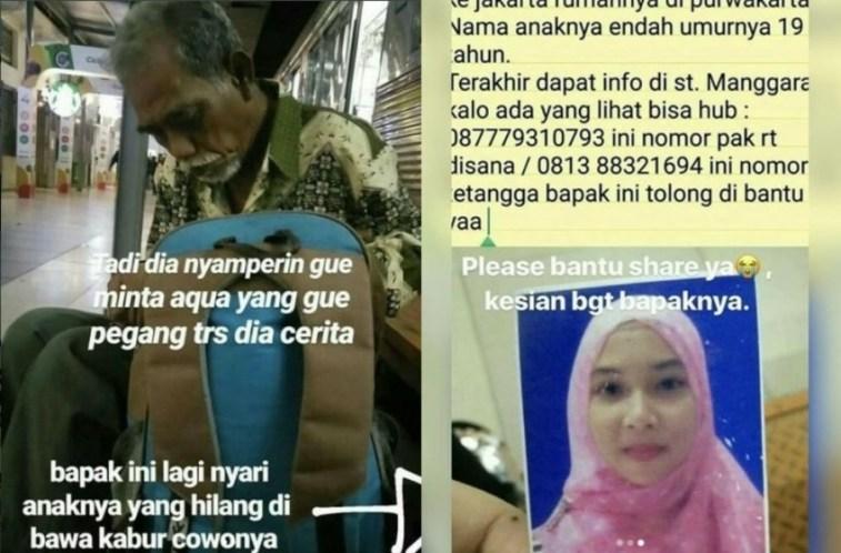 Berangkat dari Purwakarta ke Jakarta untuk cari sang anak, bapak ini sebut putrinya dibawa kabur pacar