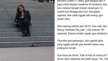 Curhat tentang pengalaman terburuk saat naik taksi online, postingan wanita ini viral