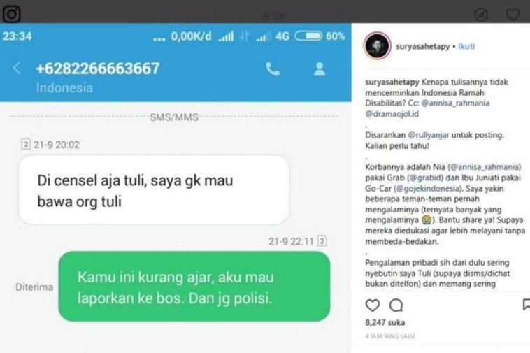 Viral customer tuli ditolak dan dihina driver GrabBike, netizen prihatin