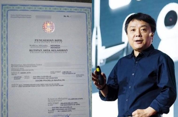 Bayi asal Lampung ini dinamai Xiaomi, presiden merek ponsel ternama itu beri respon tak terduga
