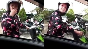 Serius bersihin kotoran di muka, gadis ini kaget saat kaca mobil tiba-tiba dibuka, tercyduk!