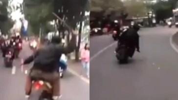 Viral video geng motor di Bandung acungkan pedang saat berkendara di jalan, aksinya bikin pengendara lain resah!