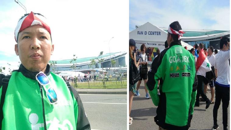 Pakai seragam Go-Jek, driver ojol ini nonton Piala Dunia 2018 di Rusia
