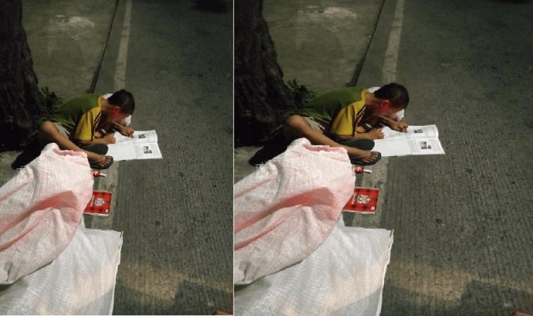 Potret menyedihkan pendidikan di Indonesia, seorang bocah laki-laki kerjakan PR di pinggir jalan