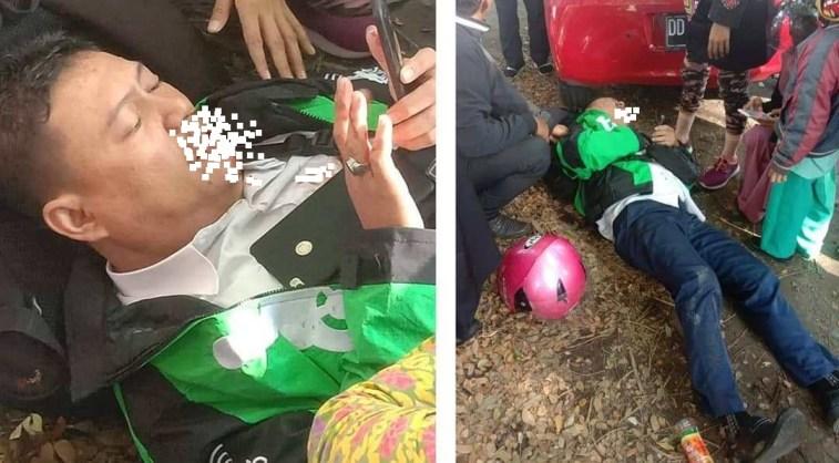 Jadi korban tabrak lari, driver ojek online ditemukan tergeletak dipinggir jalan dengan mulut mengeluarkan darah