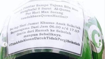 Gratiskan ongkos bagi pelajar dan penumpang yang hafal 5 surat Al-Quran, aksi driver ojol ini dibanjiri pujian