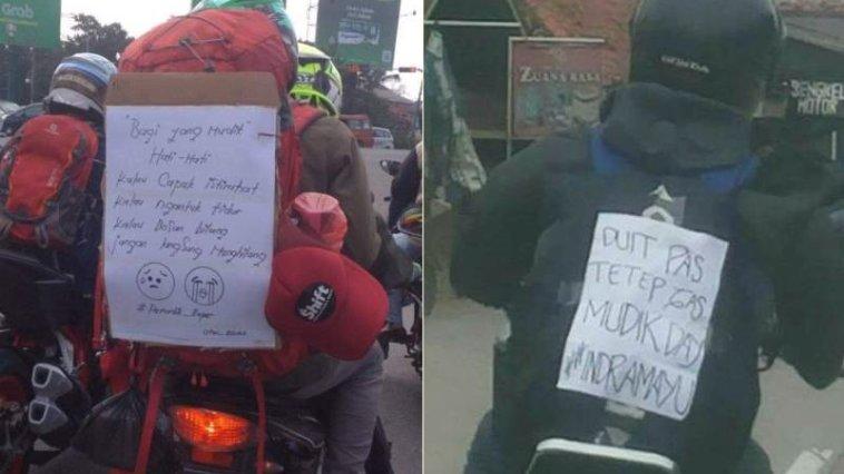 Meme lucu tulisan mudik di motor, yang gak kuat jangan liat apalagi baca!