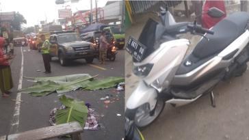 Kecelakan di pertigaan Cisaga, Yamaha N-Max diseruduk truk trailer, satu keluarga langsung tewas di lokasi