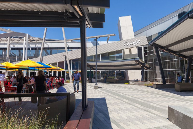 MOUNTAIN VIEW CA/USA - AUG 14 2014: Exterior view of Google office. Google is a multinational company specializing in Internet related services and products and it's the best place to work in 2014.