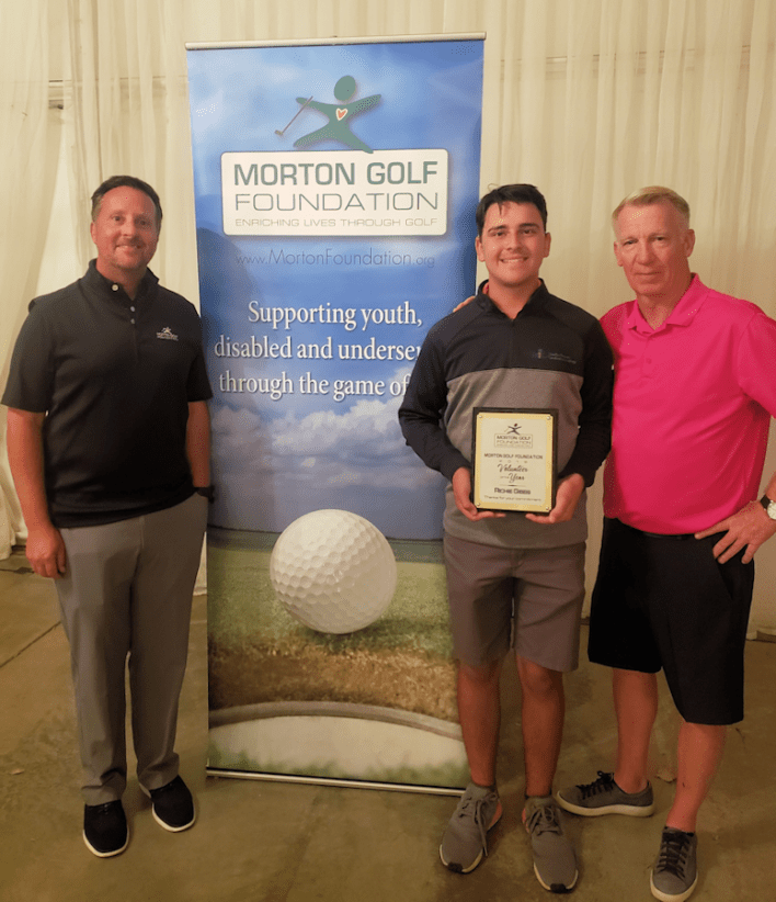 Richie Gibbs named 2019 Morton Golf Foundation Volunteer of the Year. Pictured left to right: Tom Morton, Richie Gibbs, Rob Siebers