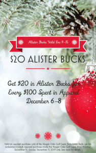 Earn $20 in Alister Bucks with Every $100 Spent in Apparel December 6-8, 2019