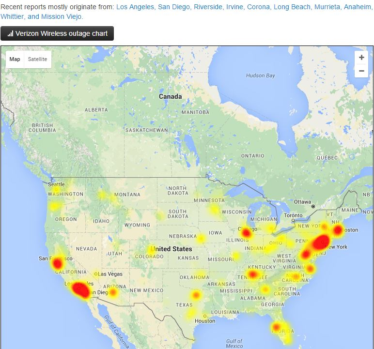 Strange Internet Outages All Across America Verizon Comcast - Charter outage map