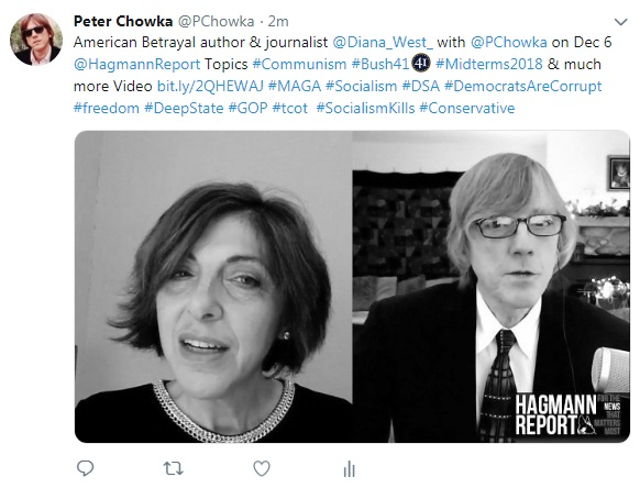 Show Notes & URLs Diana West with Peter Barry Chowka on The Hagmann Report Dec 6, 2018