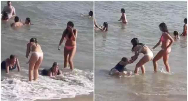 La odisea de estas señoras para salir del mar