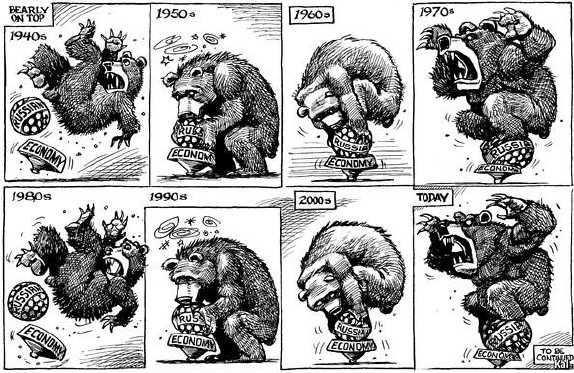 Rysk björn balanserar på den ostadiga ryska ekonomonin, faller, slår sig, balanserar igen, ser skrämmande ut, faller, etc.