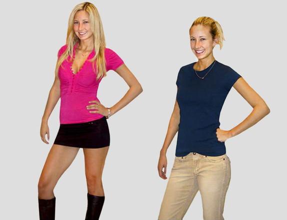 Ung kvinna med utsläppt hår, urringad topp och kort kjol till vänster, samma kvinna med uppsatt hår, tröja och byxor till höger