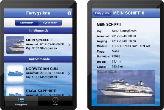 screenshot med lista på ankommande fartyg och infosida med bild och tekniska uppgifter
