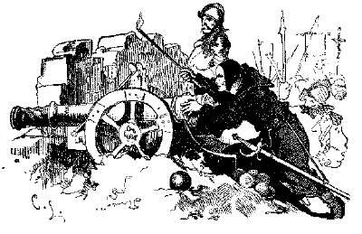 Jesuitmunk siktar med kanon