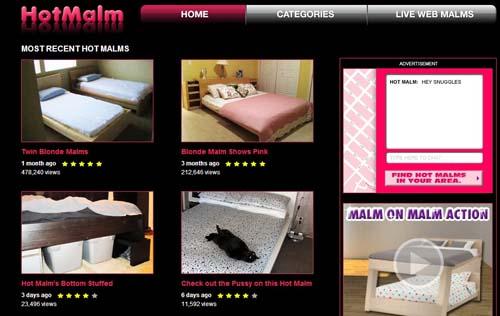screenshot på sajt med sängbilder