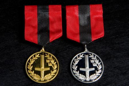 Medaljer med avbrutet svärd på, i rödsvart band