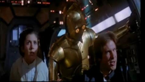Leia, 3CPO och Han Solo