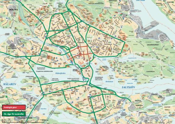 Karta över innerstaden med alternativa vägar markerade
