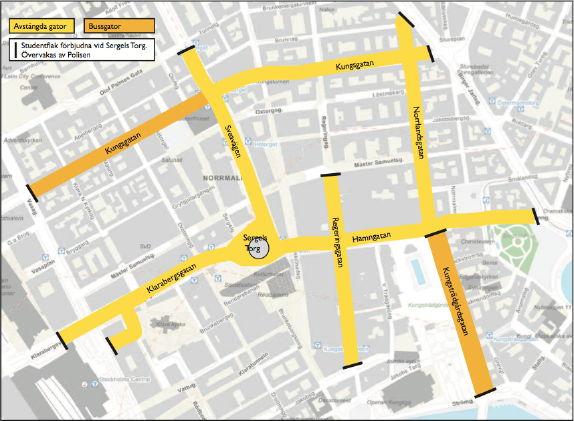 Karta över området runt Sergels Torg med avstängningarna markerade