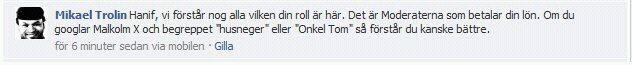 Mikael Trolin kallar Hanif Bali husneger och Onkel Tom på Facebook