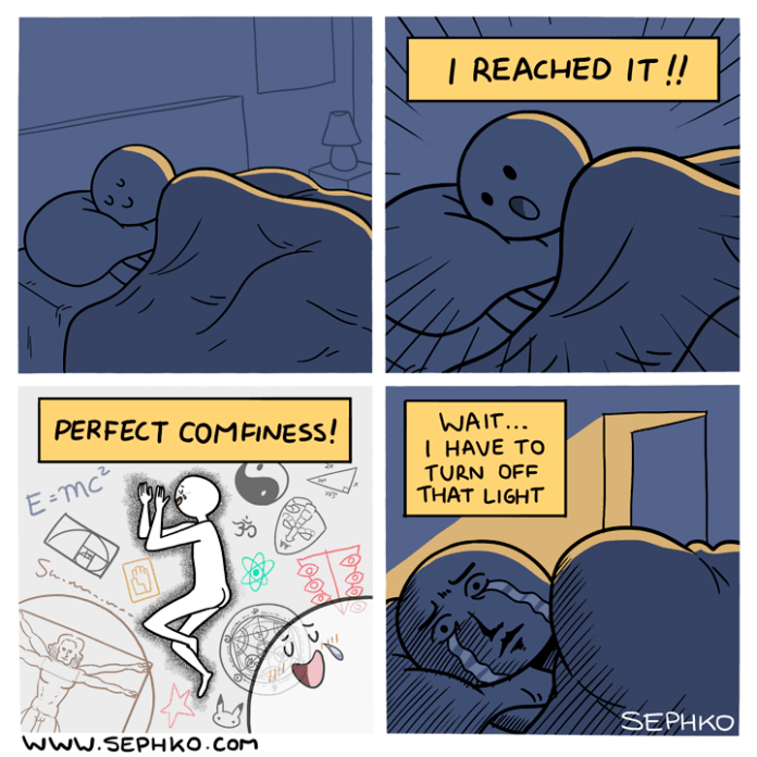 Trying to reach the level of perfect comfiness