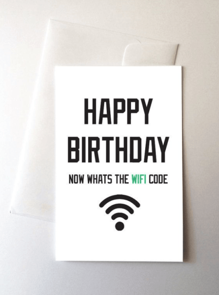 whats the wifi code funny greeting card