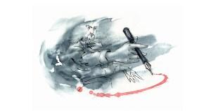 Watercolour illustration of a man wielding an ink pen.