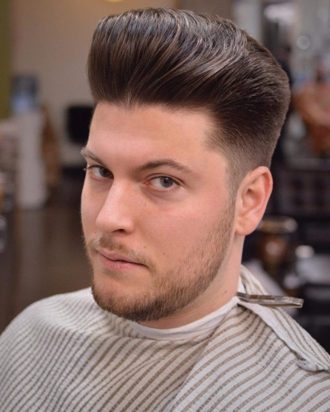Classic Pompadour Hairstyle for Round Face
