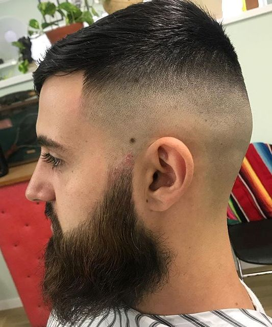 Skin Fade Short Haircut With Long Beard