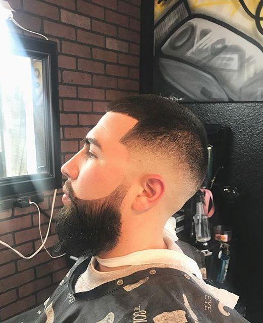 Crew Cut Faded Haircut With Full Beard