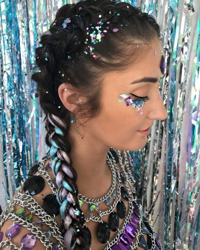 Pastel Rainbow Fishtail Braid